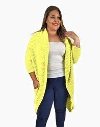 Bananowy, pastelowy długi sweter oversize 44/50 bez zapinania
