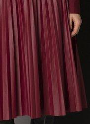 Bordowa,plisowana spódnica z EKO SKÓRY