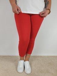 Czerwone spodnie  strecz z wysokim stanem, nogawka z guzikiem