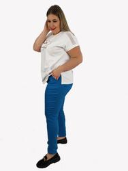 Długie niebieskie spodnie strecz z wąską nogawką XXL