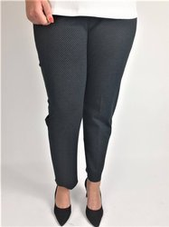 Eleganckie grafitowe spodnie ze streczem, drobny wzorek, wąska nogawka XXL