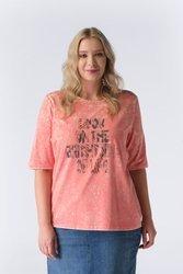 Koralowa bluzka xxl z napisem i cyrkoniami