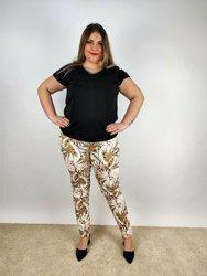 Modne spodnie damskie w kwiaty, wąska nogawka
