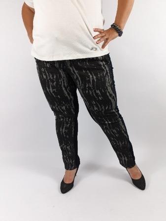 Czarno-szare spodnie z wysmuklającym wzorem