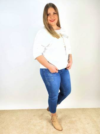 Damskie spodnie jeans xxl z nadrukiem No Secret