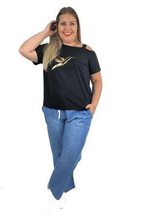 Długie, lekkie jeansowe spodnie xxl prosta nogawka