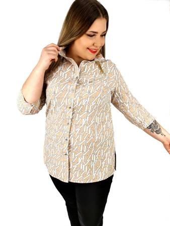 Koszula damska z rozporkami, beżowa w drukowane litery