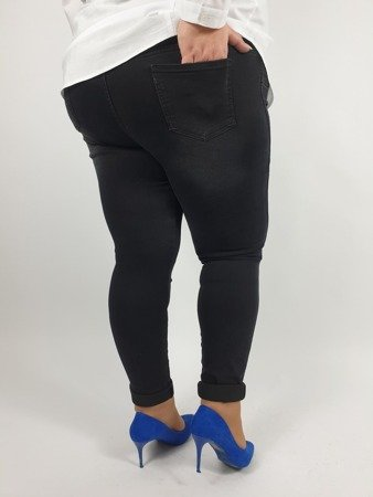 Lekko przetarte czarne jeansy na gumie PLUS SIZE