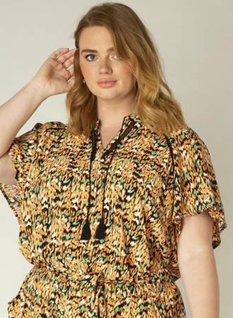Przewiewna bluzka z wiązaniem przy dekolcie w stylu boho